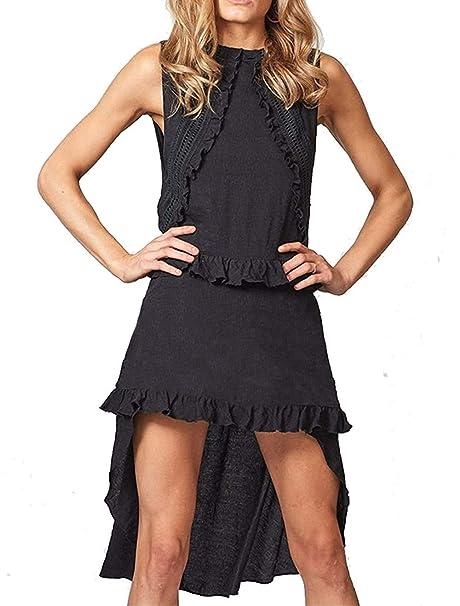d0dfa584a34 PARPERNA Women s Fashion Crew Neck Solid Chiffon Short Dress with Belt Black