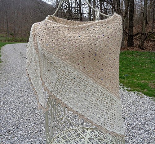 Hand Knitted and Beaded Exquisite Lacy Shawl/100% homegrown alpaca blend ()