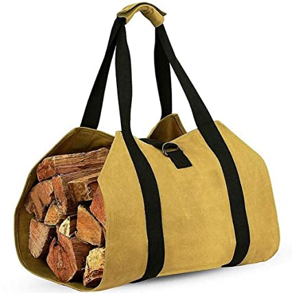 8cb6d44e9d Hyever Firewood Log Carrier Canvas Tote Bag Effortless Hold & Carry ...
