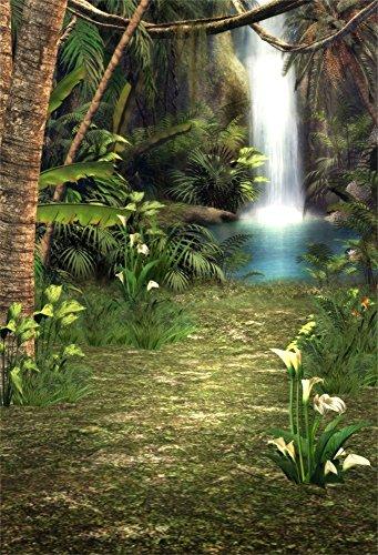 Branch Sweet (Leowefowa 3x5FT Vinyl Fairytale Waterfall Backgroud Pool Trees Branch Blooming Fresh Flowers Green Grass Dirt Road Dreamland Photography Backdrop for Sweet Baby Girls Portraits Photo Studio Prop)