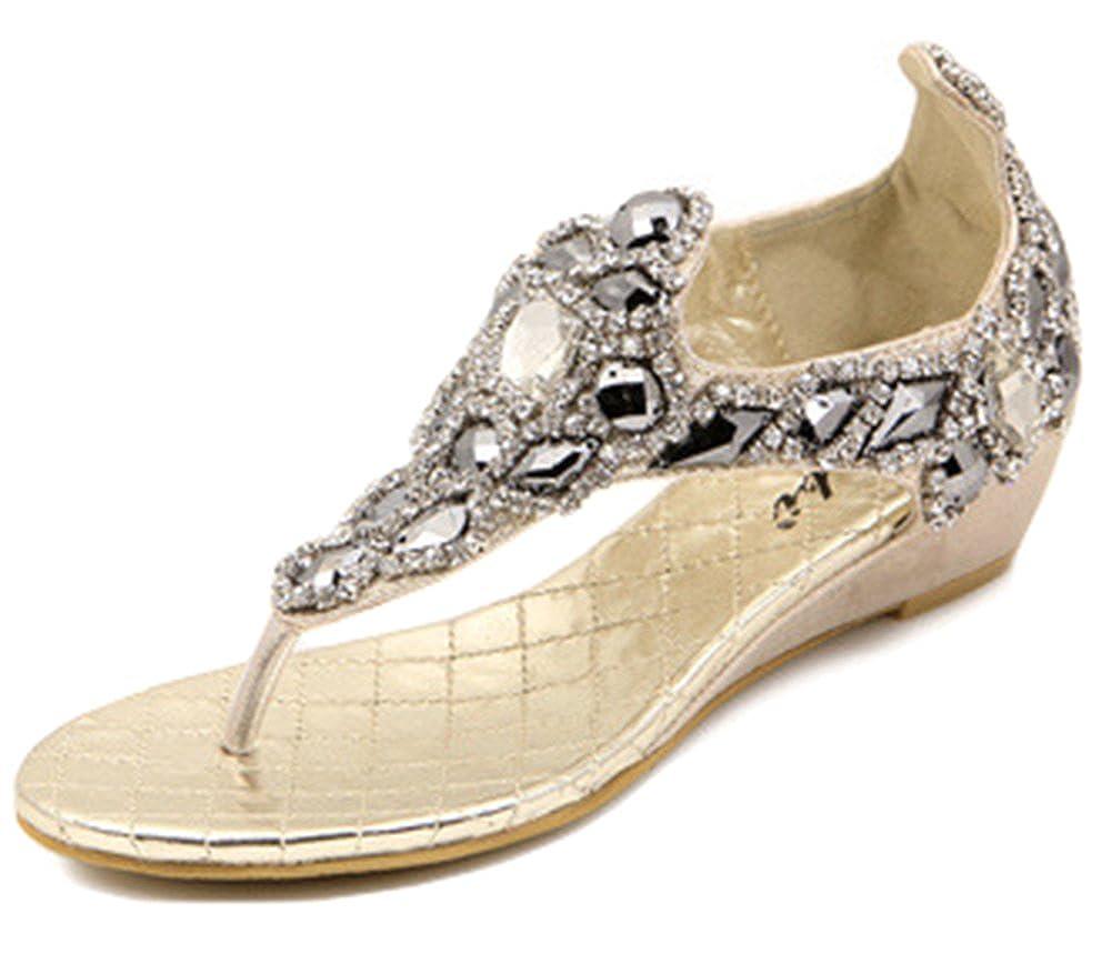 SHOWHOW Womens Glittering Rhinestones Split Toe Slip On Sandals