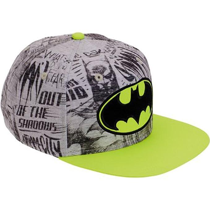 88e10b31a2 Amazon.com  Batman Logo Boys NEON Flat Bill Snap Back Baseball Hat ...
