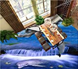 BZDHWWH Customize 3D Flooring Dolphin Waves Blue Sky White Clouds Wallpaper for Kids Room Vinyl Flooring,60Cm X 90Cm