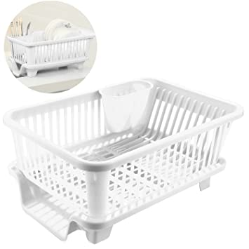 Utensilios de cocina de plástico plato secado plato escurridor fregadero cesta para cubiertos de organizador bandeja: Amazon.es: Hogar