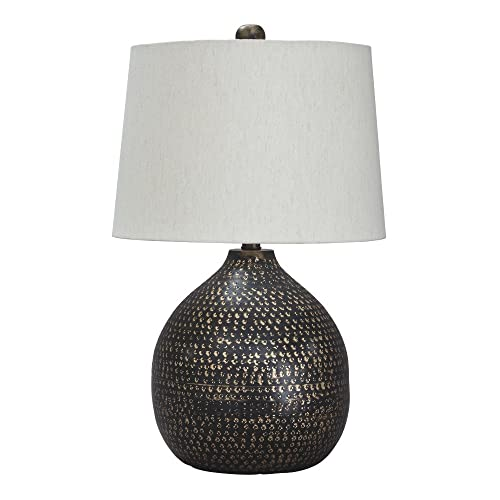 Signature Design by Ashley – Maire Metal Table Lamp – Contemporary – Black Gold Finish