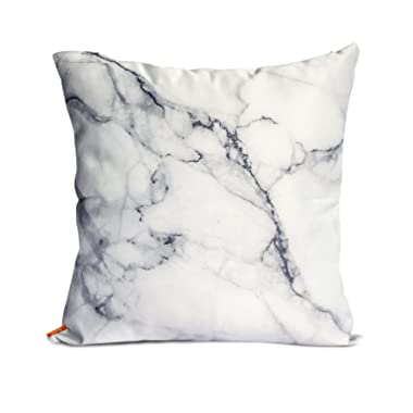 Ojia Luxury Home Decorative Soft Silky Satin Marble Texture Two Sides Personalized Throw Cushion Cover/Pillow Sham (12 X 20 Inch, White Marble)