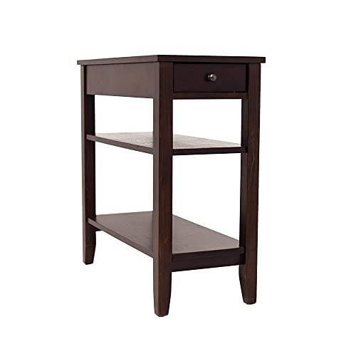 NB Liner Wooden Narrow End Table with Drawer The 3 Tier Slim Side Table in Living Room, Espresso Finish