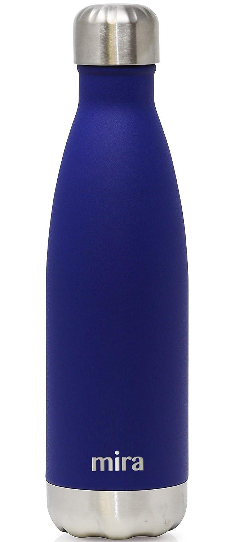 Botella de Agua de Acero Inoxidable con Aislante de MIRA, de 500 ml, 17 onzas, con Forma de Cola, Azul