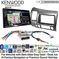 Volunteer Audio Kenwood DNX574S Double Din Radio Install Kit with GPS Navigation Apple CarPlay Android Auto Fits 2006-2011 Honda Civic (Dark Atlas Grey)
