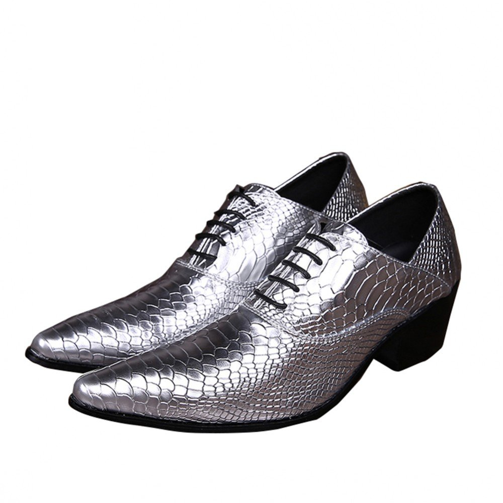 Men's Leather Loafers Lace Up Pointed Toe Wedding Dress Wingtip Oxford Shoes (US 10)