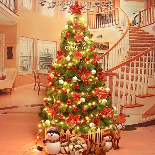 DULPLAY Árbol de Navidad Artificial, Falso árbol de Navidad con Luces En Soporte 5 Modos de Flash Soporte de Metal...