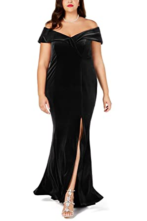 2efd6811fe0 FUSENFENG Womens Plus Size Off The Shoulder Velvet Formal Party Maxi Dress  Evening Gown (Black