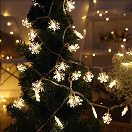 best service 87314 39a0a LED String Lights Christmas Snowflake Lights Battery Operated Waterproof  20ft, 40 LED Lights for Bedroom, Corridor, Patio, Garden, Yard, Photo Frame  ...
