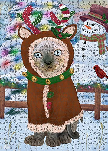 Doggie of the Day Christmas Gingerbread House Candyfest Sphynx Cat Puzzle with Photo Tin PUZL94476 (1000 pc. 20