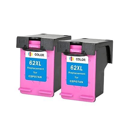 rightink 2 Pack para HP 62 X L color cartuchos de tinta ...
