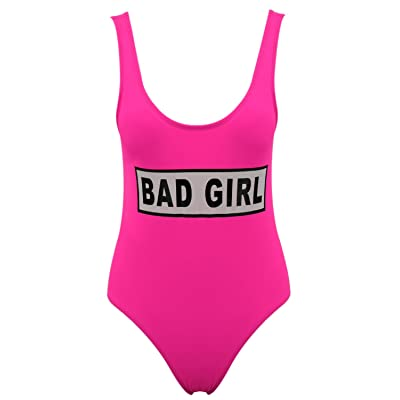 ACHICGIRL Women's Bad Girl Letter Graphic Scoop Neck One Piece Swimsuit
