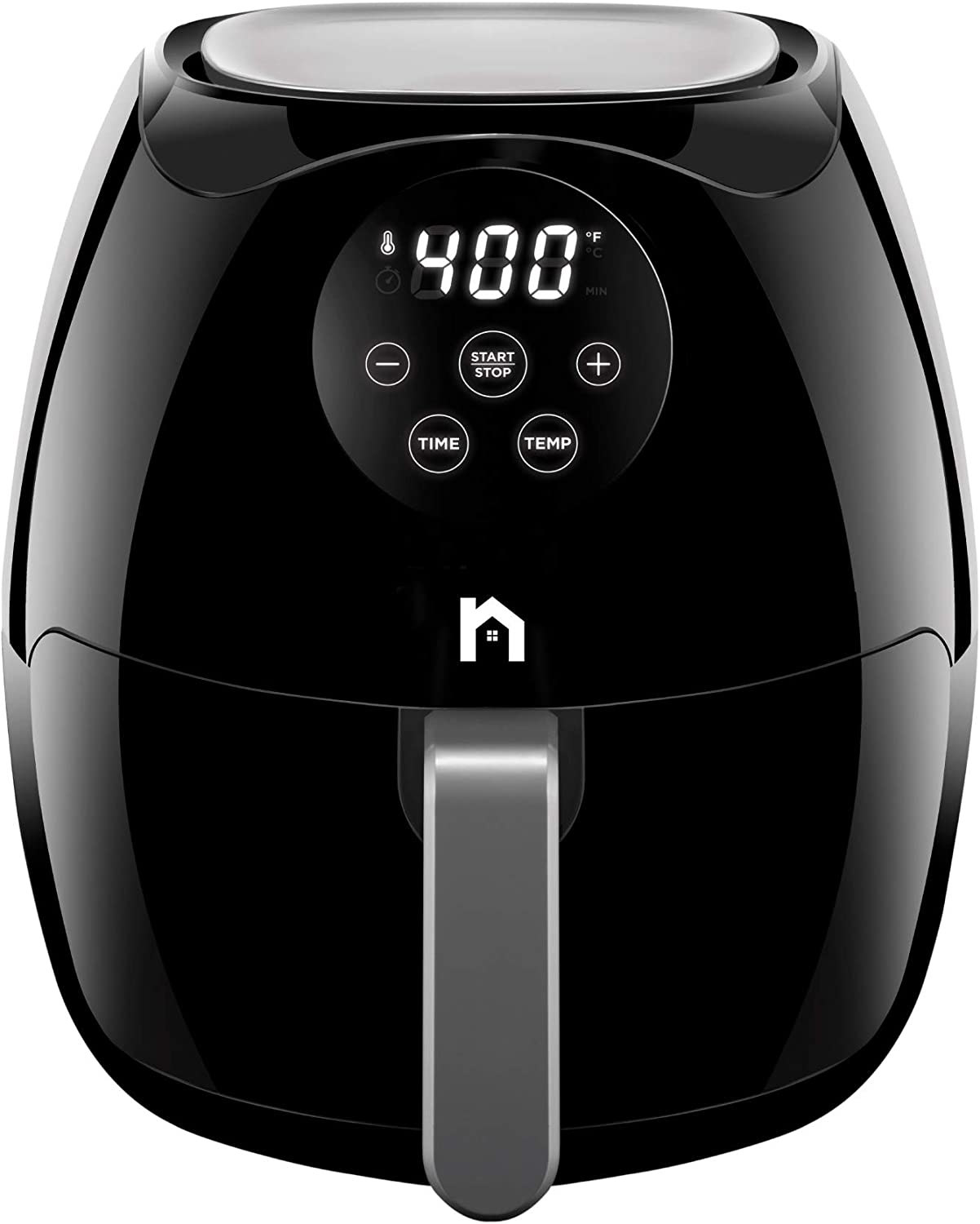 New House Kitchen Digital 3.6 Quart Air Fryer w/ Flat Basket, Touch Screen AirFryer, Non-Stick Dishwasher-Safe Basket, Use Less Oil For Fast Healthier Food, 60 Min Timer & Auto Shut Off, Black