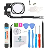 OmniRepairs-Home Button Flex Cable Replacement with Rubber Gasket, Screws (2) For iPhone 5s and iPhone SE and Repair Toolkit (Silver)