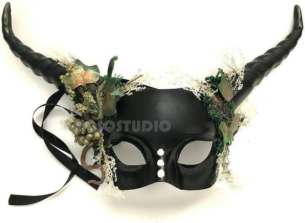 Woodland Antler Gobin Forest Fairy Medusa Demon Halloween Devil Masquerade Ball Mask with Horns BRAND NEW (Antler)
