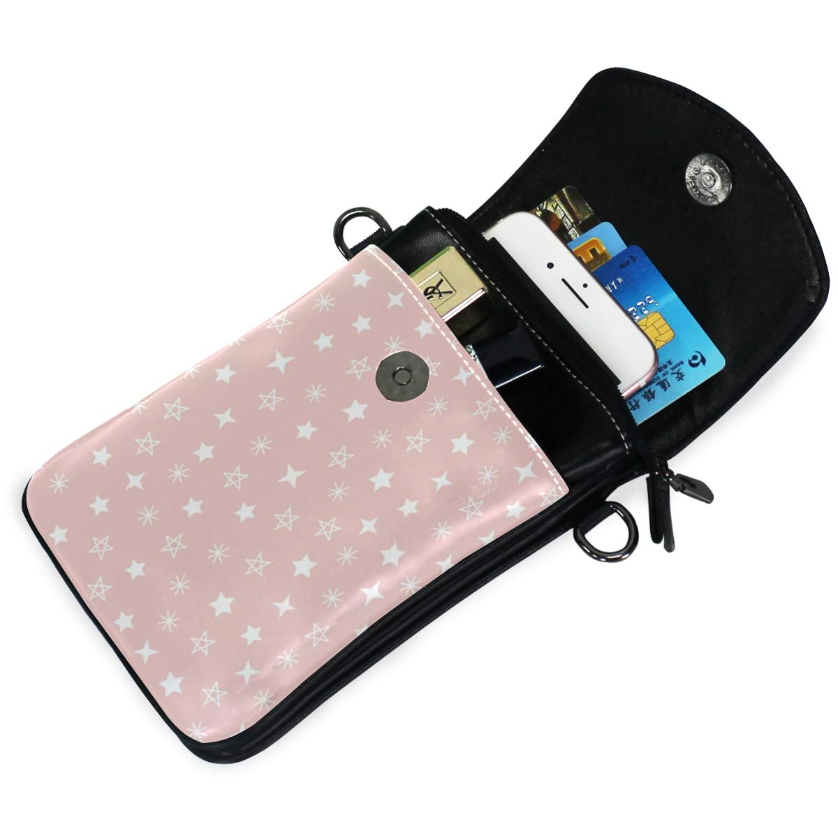 Small Crossbody Coin Purse Pink Background White Star for Women Bags Leather Multicolor Smartphone Bags Purse With Removable Strap