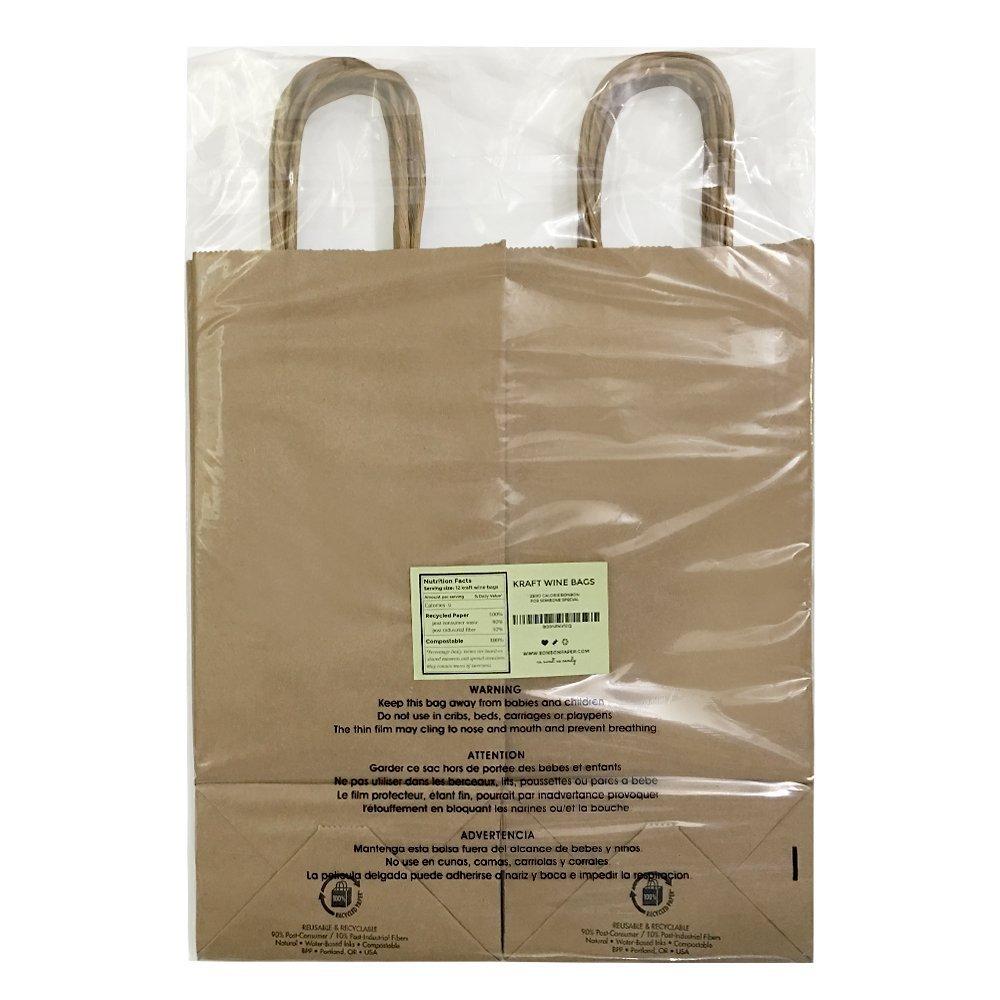 saybrook products kraft paper wine bags handles tissue paper bulk