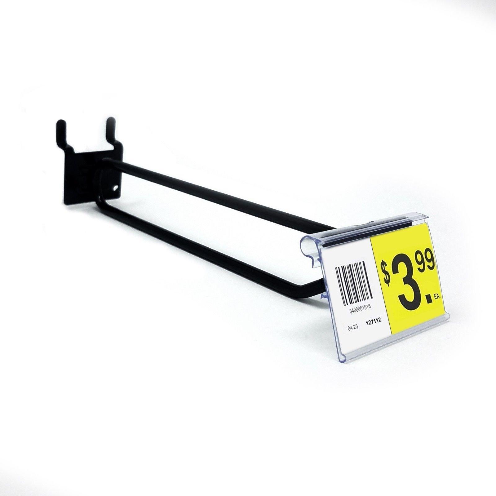 6'' Pegboard Flip Up Scanner Hooks w/ 2.5'' L X 1.25'' H Scanner Plates - Black - 50 Pack