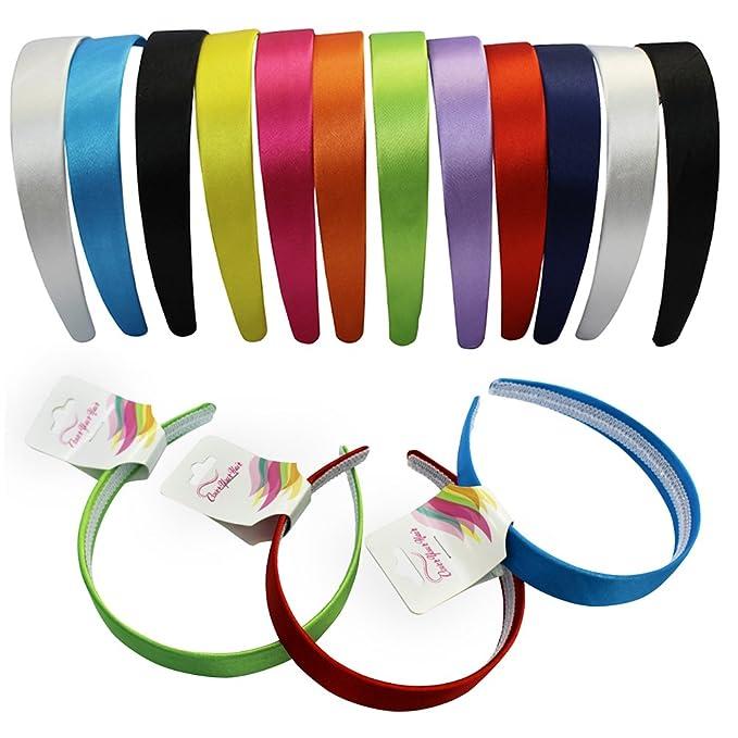 Narrow Satin Headbands - 2.5 cm - 12 Beautiful Hard Headbands by  CoverYourHair b1cfbf3bc26