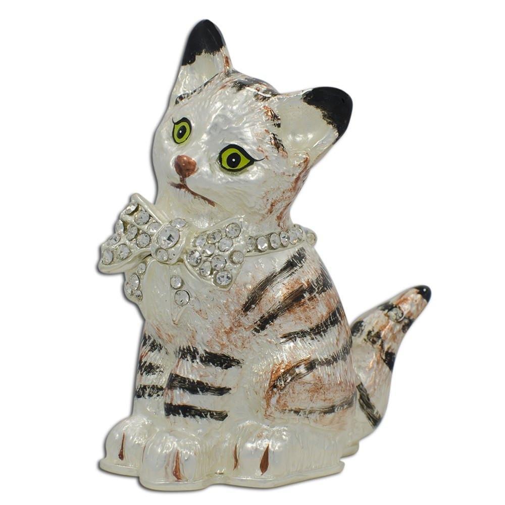 BestPysanky Maine Coon Cat with a Crystal Bow Jewelry Trinket Box Figurine QB100347Y1