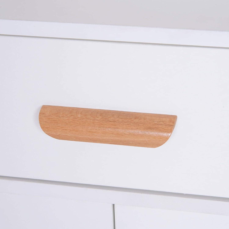 benzoni Madia Mobiletto Soggiorno con Piedi in Legno di Pino Bianco 80x29.5x96 cm