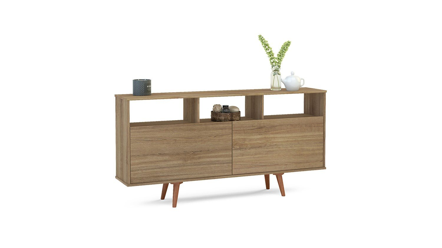 Boahaus Contemporary Side Board, Brown, 2 closed compartment, 3 open spaces - Gives good modern style to your living room Two large compartments to storage your needs Three open shelves to put your best souvenirs - sideboards-buffets, kitchen-dining-room-furniture, kitchen-dining-room - 61NaY9hTnIL -