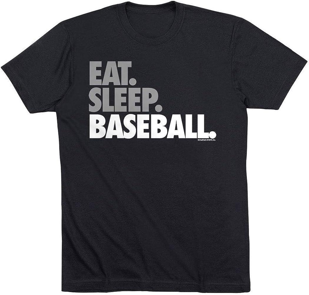 Eat Sleep Baseball Bold Text Youth T-Shirt | Baseball Tees by ChalkTalk Sports | Multiple Colors | Youth Sizes