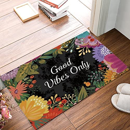 CHARMHOME Good Vibes Only Doormat Entrance Mat Floor Mat Rug Indoor Front Door Bathroom Kitchen and Living Room Bedroom Mats Rubber Non Slip