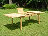 TeakStation Grade-A Teak Wood Large double extension 94'' Rectangle Dining Table #TSDT94R