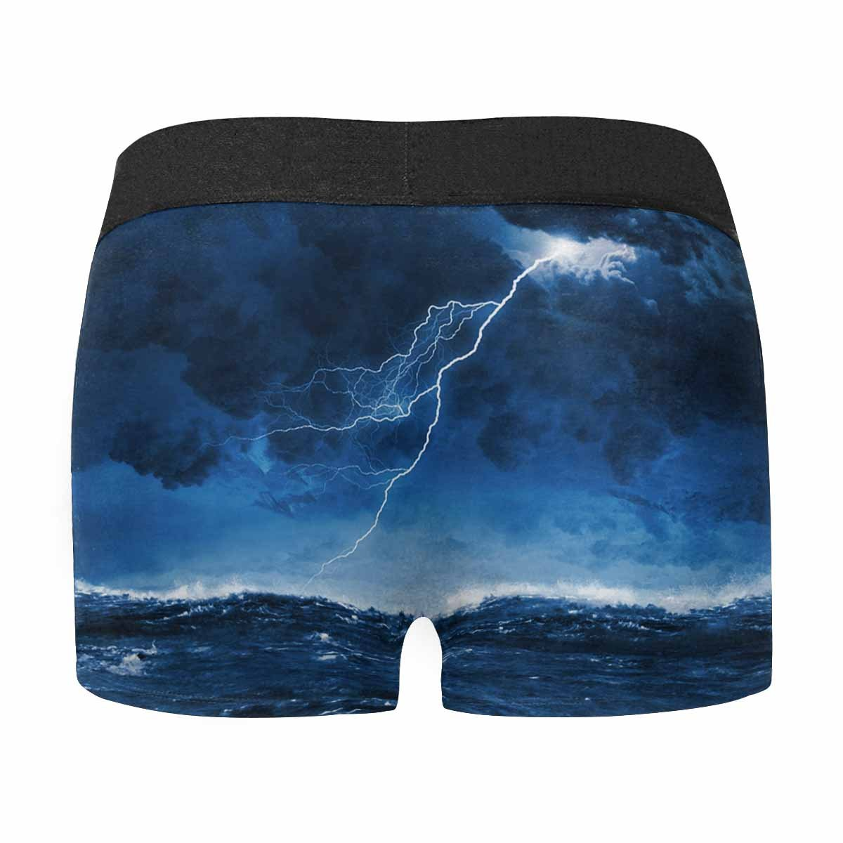 XS-3XL INTERESTPRINT Custom Mens All-Over Print Boxer Briefs Image of Night Stormy Sea with Big Waves and Lightning