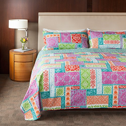 SLPR Carnival of Colors 2-Piece 100% Cotton Lightweight Printed Quilt Set (Twin) | with 1 Sham Machine Washable All-Season Bedspread Coverlet