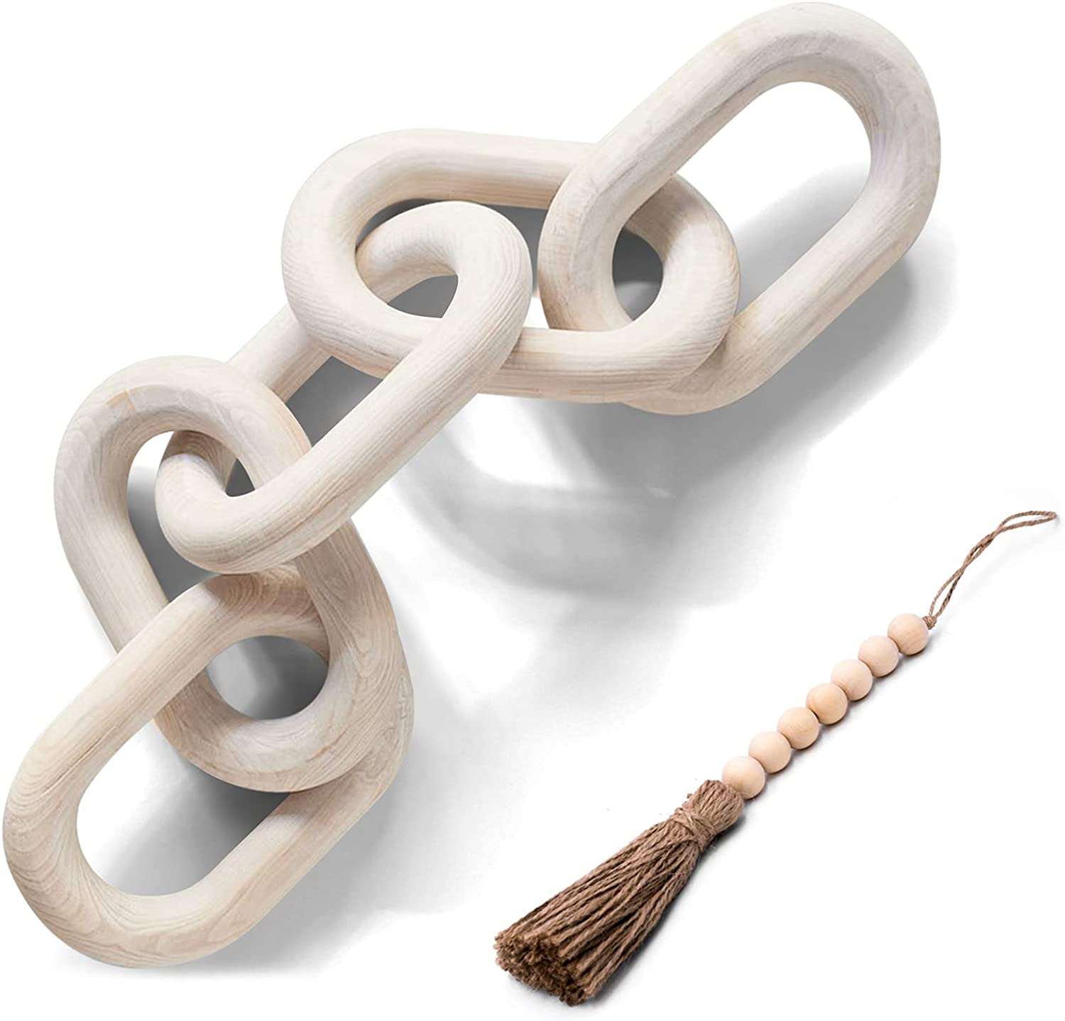 Wood Chain Link Decor Hand Carved Wooden 5-Link Chain Decor for Home Coffee Table Farmhouse Bookshelf Tray Bowl Rustic Country White Washed Decorative Statue Large Pale Modern Pine Wood 22in SierTing