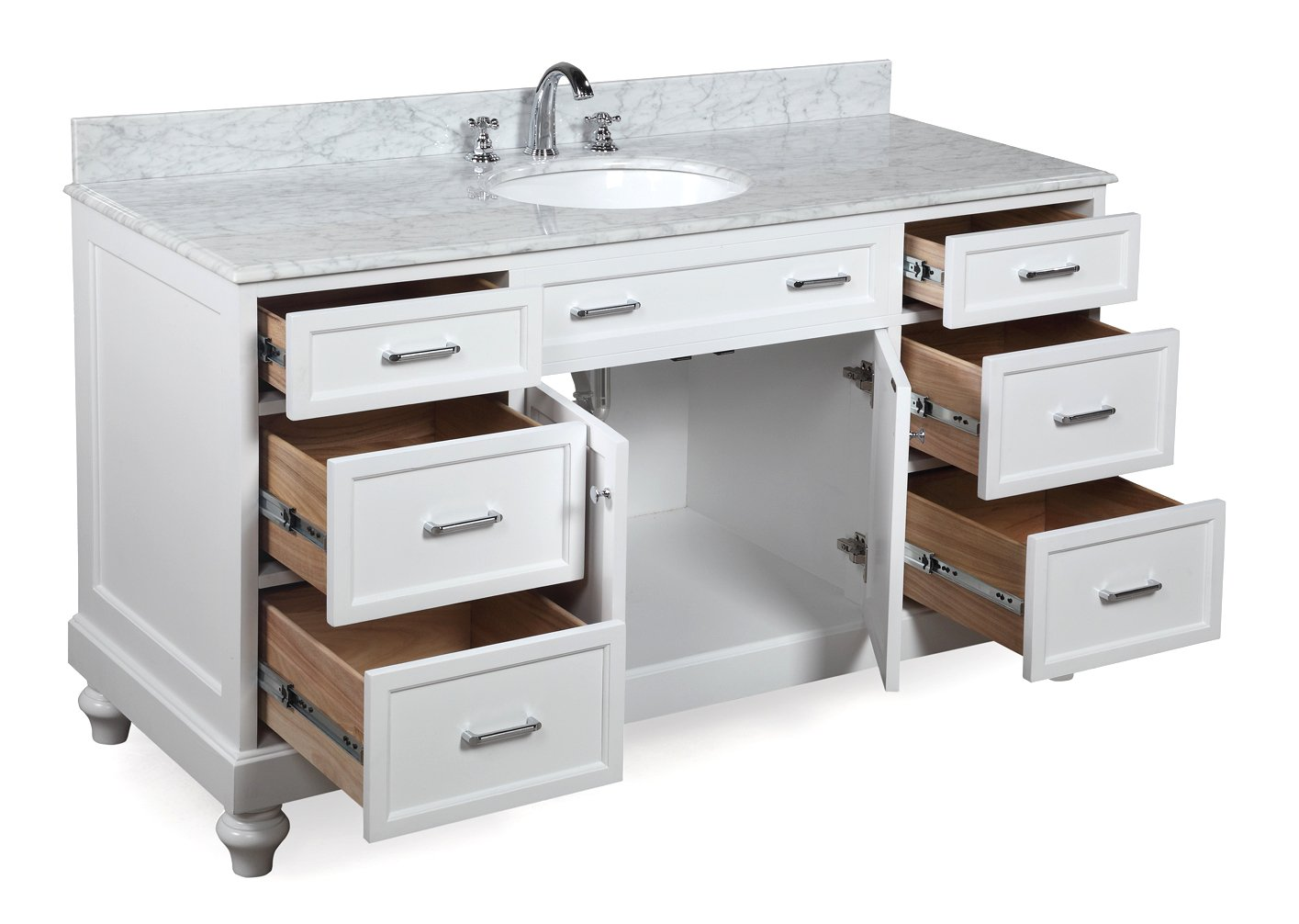 60 Single Sink Vanity Part - 42: Kitchen Bath Collection KBC511WTCARR Amelia Single Sink Bathroom Vanity  With Marble Countertop, Cabinet With Soft Close Function And Undermount  Ceramic Sink ...