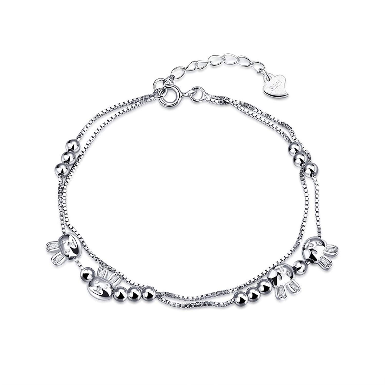 DVANIS 925 Sterling Silver Exquisite Rabbit Beads Pendant Bracelet Adjustable Women