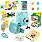 Fujifilm Instax Mini 9 Camera ICE BLUE + Accessory kit for Fujifilm Instax Mini 9 Camera Includes Instant camera + Fuji Instax Film 20 PK + Instax Case + instax Album + Sorted lens & Frames + MORE