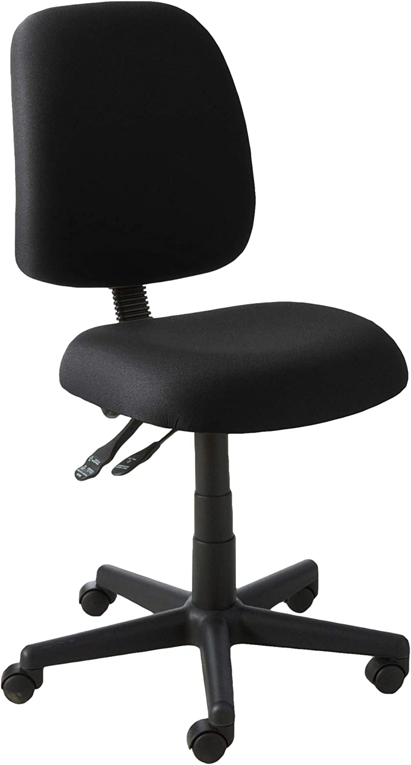 OFM Posture Series Armless Mid Back Task Chair – Stain Resistant Fabric Swivel Chair, Black 118-2