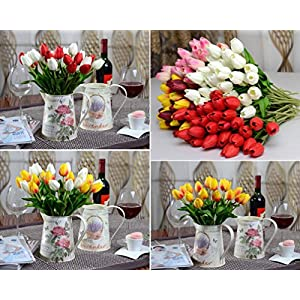 DZT1968 Tulip Artificial Flower Latex Real Touch Bridal Wedding Bouquet Home Decor,10pcs 34
