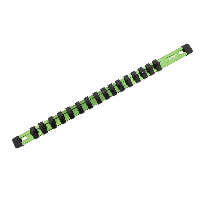 ABN Black Aluminum SAE Standard 1//4in Drive Socket Holder Socket Rail and Clips Tool Organizer