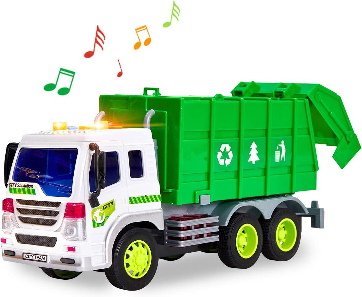 HERSITY Camión de Basura con Luces y Sonidos Coches de Friccion Vehiculos Juguete Regalos para Niños