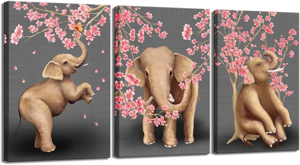 sechars - 3 Piece Animal Wall Art Modern Animals Painting Elephant with Cherry Blossom Trees Wall Decal Stretched and Framed Artwork for Kids Bedroom Home Living Room Decor (16x24inchesx3pcs)