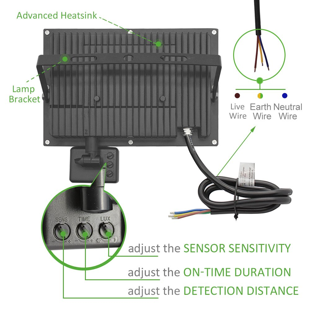 Ustellar 4800lm 60W Motion Sensor LED Security Light, Outdoor Super ...