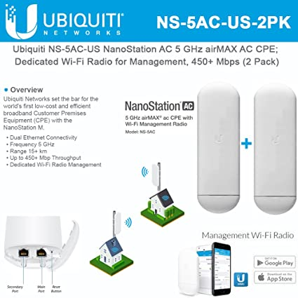 NanoStation AC NS-5AC-US 5 GHz Airmax AC CPE Dedicated Wi-Fi Radio for  Management 450+ Mbps (2 Pack)