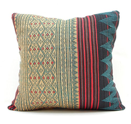 Throw pillow traditional Naga tribal textile, ethnic hand woven cotton green red tan black India fabric 18 x 18 inch decorative pillow. ()