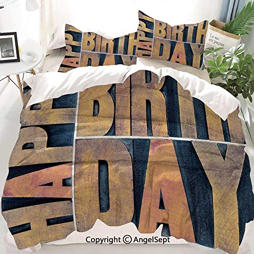 Homenon Birthday Decorations Decor Duvet Cover Set Full Size,Letterpress Wood Type ing Blocks Rectangles Typography,Decorative 3 Piece Bedding Set with 1 Pillow Shams