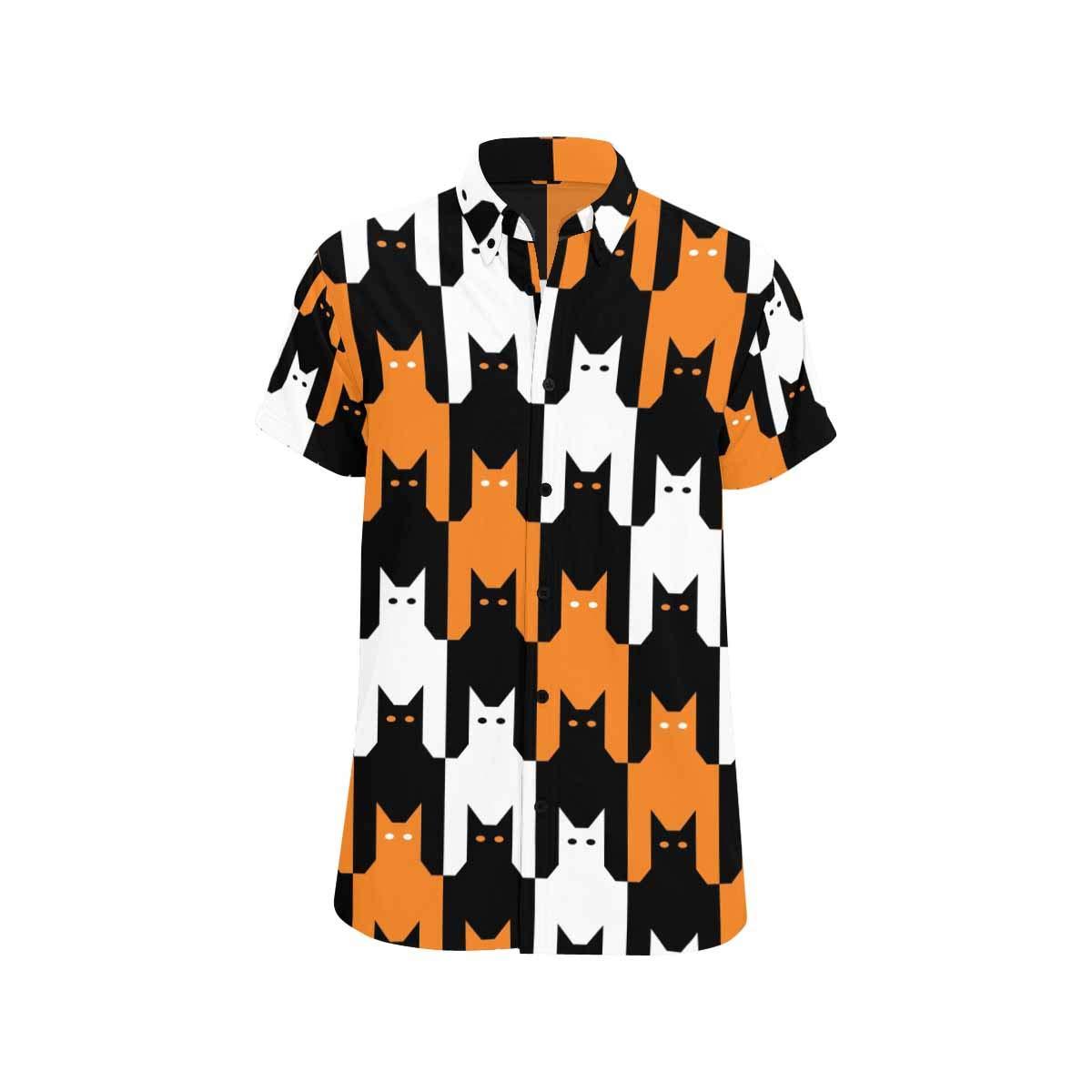 InterestPrint Catstooth Halloween Casual Regular Fit Button Down Shirts Short Sleeve for Men