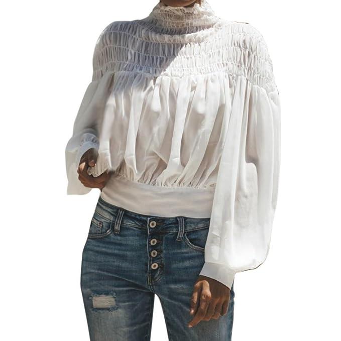 Blusa sólida de Moda de Mujer Manga Larga Cuello Alto Pliegue Linterna Camisa Tops Sueltos ❤